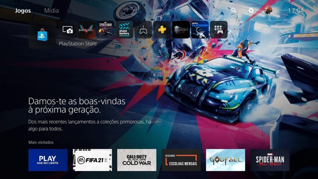 Interface Inicial do PS5